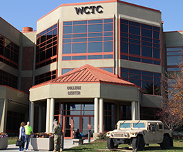 Army jeep outside WCTC