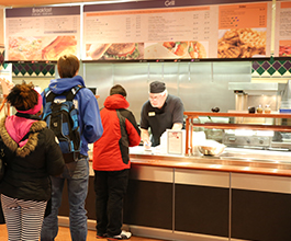 Students in the dining hub